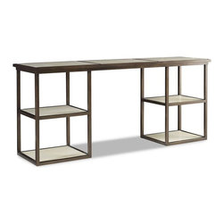 Brownstone Bristol Console Table - The Bristol tables are a unique collection of bronze finished metal frames with parchment tops. Parchment is made from a supple calf skin that is both rich and unique. The natural quality of this material is in its subtle nuances of both color and texture, which make these tables so distinctive.