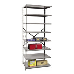 Hallowell - 87 in. High 8-Tier Hi-Tech Extra Heavy-Duty Open Shelf - Adder (48 in. W x 12 in - Depth: 48 in. W x 12 in. D x 87 in. H. Constructed to link to an existing shelving unit, this extra heavy duty shelf will add storage and function to a basement, garage or commercial setting. Crafted of cold rolled steel in classic gray, the unit is available in your choice of depths, ensuring you'll find the right size to suit your own personal storage needs. Great addition to Hi-Tech extra heavy-duty open shelving starter unit. Open style with sway braces. 8 Adjustable shelves. Fabricated from cold rolled steel. Welds are spaced 3 in. on center to provide maximum strength. Sides are triple flanged to form a channel. All 4 corners are lapped and resistance welded to provide a rigid corner and add extra strength to the shelf. Tubular front edge is designed to protect against impact loads. 48 in. W x 12 in. D x 87 in. H. 48 in. W x 18 in. D x 87 in. H. 48 in. W x 24 in. D x 87 in. H. Assembly required. 1-Year warranty