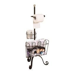 Industrial Bathroom Metal Floor Rack - Clean up the clutter of toilet paper packaging and scattered magazines and books with the Industrial Bathroom Metal Floor Rack.  Its curled feet and sleek, rustic lines add creative flair to this highly functional item, while its extra roll holder makes sure you and your guests won't be hung out to dry at the end of a roll.