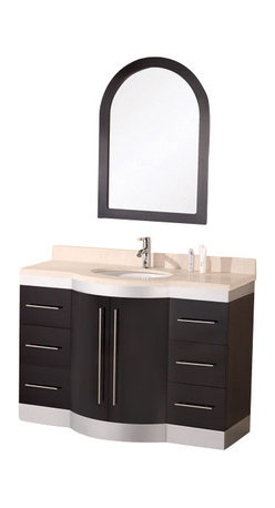 """Design Element - Design Element Jade 48"""" Espresso Modern Single Drop-in Sink Vanity Set - The Jade 48"""" vanity is beautifully constructed of solid hardwood. The travertine counter top's classic beauty and contemporary cabinetry bring a sophisticated and clean look to any bathroom. Seated at the base of the ceramic sink is a chrome finished pop up drains designed for easy one touch draining. A framed mirror with espresso border is included. This sleek designed vanity has ample storage which includes six drawers and one large double door cabinet accented with satin nickel hardware. The Jade Collection Bathroom Vanity is designed as a center piece to awe-inspire the eye without sacrificing quality, functionality or durability."""