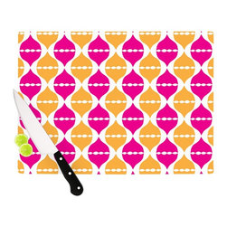"Kess InHouse - Apple Kaur Designs ""Moroccan Dreams"" Pink Orange Cutting Board (11"" x 7.5"") - These sturdy tempered glass cutting boards will make everything you chop look like a Dutch painting. Perfect the art of cooking with your KESS InHouse unique art cutting board. Go for patterns or painted, either way this non-skid, dishwasher safe cutting board is perfect for preparing any artistic dinner or serving. Cut, chop, serve or frame, all of these unique cutting boards are gorgeous."