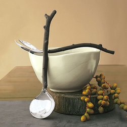 "Viva Terra - Twig Salad Servers - Bold, nature-inspired twig utensils meld a stainless steel working end to carved handles. Aside from being a welcome departure from conventional servers, these perfectly balanced implements fit comfortably in the hand. Dishwasher safe. 11-1/4""L"