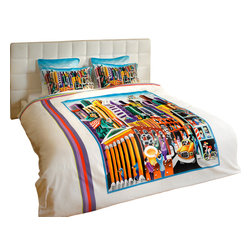 "ARTnBED - Duvet Cover ""My New-York"", Full/Queen - NY is the city that never sleeps. But you will! Enjoy a good night's sleep covered with this duvet cover featuring the large digital print of the painting ""My New-York"" by the artist Yuval Mahler. In this work, Yuval paints a love letter to the city where he worked, studied and lived life 24/7. Every inch of this painting is filled with energy & color, with bits of whimsy and humor. Explore the big city endlessly with your feet up, resting under this delightful duvet."