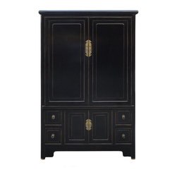 Golden Lotus - Black Lacquer Solid Wood Copper Hardware Armoire Cabinet - This is a simple and elegant design black lacquer Armoire. It is made of solid elm wood and comes with copper hardware on the doors and drawers.