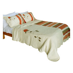 Blancho Bedding - [Noble Rose] 100% Cotton 3PC Embroidered Patchwork Quilt Set (Full/Queen Size) - Set includes a quilt and two quilted shams (one in twin set). Shell and fill are 100% cotton. For convenience, all bedding components are machine washable on cold in the gentle cycle and can be dried on low heat and will last you years. Intricate vermicelli quilting provides a rich surface texture. This vermicelli-quilted quilt set will refresh your bedroom decor instantly, create a cozy and inviting atmosphere and is sure to transform the look of your bedroom or guest room.
