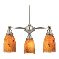 Design Classics Lighting - Mini-Chandelier with Brown Art Glass in Satin Nickel Finish - 598-09 GL1001D - Transitional satin nickel 3-light chandelier. Takes (3) 100-watt incandescent A19 bulb(s). Bulb(s) sold separately. UL listed. Dry location rated.