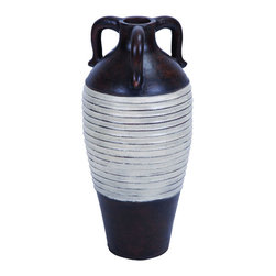 Benzara - Traditional Design Terracotta Vase in Rusted Brown Finish - Flaunting a classic design, this beautiful Terracotta Vase is an excellent accessory for traditionally-styled interior settings. It features a minimalist design that is crafted with clean detailing and elegant contours, adding a neat touch to the overall appearance. It has a versatile style that can blend in with all kinds of decors. The vase sports a brown body which is harmonized with white center, adding a classy touch to the appearance. Designed with three handles, the vase features a unique style. It is crafted from high quality ceramic, ensuring that it remains in good condition and stays sturdy for a long time. The vase exudes subtle elegance which can complement office and home interiors exceptionally well, and is ideal for setting almost anywhere to add a more appealing touch to interiors. It comes with a dimension of 24 in.  H x 11 in.  W x 11 in.  D.