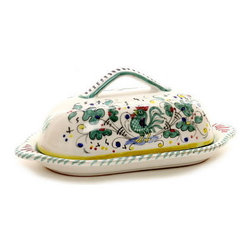 Artistica - Hand Made in Italy - Orvieto: Butter Dish with Cover - Orvieto Collection: This is a very old and traditional pattern that originated during the Renaissance in the hill-top town of Orvieto - Italy.