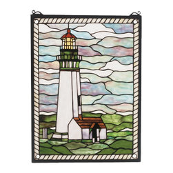 Meyda Tiffany - Meyda Tiffany Yaquina Head Lighthouse Window X-94955 - From the Yaquina Head Lighthouse Collection, this Meyda Tiffany window features a stormy backdrop and a lighthouse surrounded by vivid green fields. The lighthouse has been shown with typical features while rope-like trim compliments the nautical styling of this design.