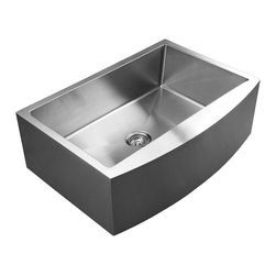 Ukinox - Ukinox RSFC849 Single Bowl Apron Kitchen Sink - The Ukinox RSFC849 sink is a large single bowl apron-front sink. This sink features a curved front and 15-degree corners that allow for easy cleaning. The RSFC849 is a great fit for contemporary or traditional style kitchens.