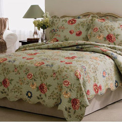 Pem America - American Traditions Edens Garden Twin Quilt with Pillow Sham - - Flowering vines on a bed of sage green with detailed machine stitching and scalloped edges. Eden?s Garden is a classic quilt used in understated luxury. Pre-washing provides a natural worn look. Twin quilt measuring 68x86 inches with 1 standard sham.  - Mini set includes the following bedding: 1 twin quilt and 1 standard sham  - See care label for instructions. Pem America - QS2885TW2300