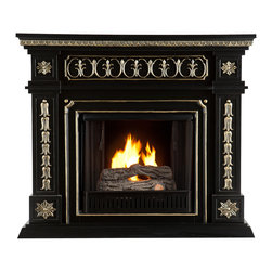 SEI - Donovan Gel Fuel Fireplace - Black - This gel fuel fireplace is the definition of stately! The painted black finish and beautiful, hand-painted gold accents produce a sense of elegance and world travel - an instant must have. To top it off, this fireplace requires no electrician or contractor for installation, allowing for instant remodeling without the usual mess or expenses. This fireplace features hand-carved rosettes and ornate details. The French influences and Victorian-esque elements of the design make it a beautiful focal point in any room. FireGlo Gel Fuel snaps and crackles like real wood for the perfect fireplace experience; replace the gel fuel with decorative pillar candles for year round enjoyment. Convenience and ease of assembly are just two of the reasons why this fireplace is perfect for your home. The ornate, elegant style of this fireplace works well in traditional and transitional homes. This handsome fireplace is great for the living room and bedroom, and even adds a warm, romantic touch to the dining room or home office. Let this portable fireplace give your home a more welcoming and enjoyable atmosphere.