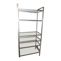 Pre-owned Metal & Glass Modern Bookcase - Large, modern and extremely sturdy with heavy glass shelves, these metal and glass bookshelves are just asking to be styled with books and accessories! These bookcases are from a model home, so they have never been used.     The seller has two bookcases available. One for $450. Both for $700. Please contact support@chairish.com to purchase the pair.