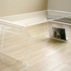 Baxton Studio - Adair Acrylic Coffee Table - A clear acrylic coffee table is a great choice for extra table space that looks good nearly anywhere. Suitable for indoor and outdoor use,it has a clean,modern look and includes an integrated footrest that offers storage space for books and more.