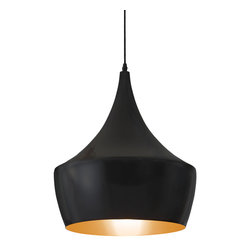 Zuo - Big Top Black Pendant Light - Like a main attraction at the circus, the Big Top Black Pendant Light belongs in the big top tent.  This small pendant light has a unique shape that features a black matte metal on the outside and a gold-coated inside.  The light beams with a warm glow.  Use the pendant alone as bedside or task lighting for just the right amount of brightness.  Or cluster several Big Top Black Pendant Lights together at different heights in your space or even over a bar area for a more dramatic effect.