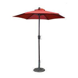 Pier Surplus - 6.5' Bright Red Patio Metal Umbrella with Crank #UB30040 - Add a shot of bright red to your backyard with this 6.5' umbrella. It is a great way to block dangerous UV rays while creating cool shade under which to enjoy the company of friends and family. These patio umbrellas are made from high-quality materials to withstand the summer sun or rains. Easy to clean, this outdoor patio umbrella (aka market umbrella) will turn any afternoon into a breezy affair!