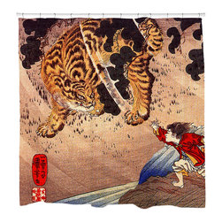 """Sharp Shirter - Tiger Showdown Shower Curtain - """"This curtain is printed in USA!. Hooks sold separately. Disclaimer: If you order multiple items, they may ship from separate locations."""""""