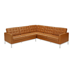 Modway - Modway EEI-254 Loft L-Shaped Sectional Sofa in Tan - The mid-20th century was a time when hopes were at their highest. Technological developments were bustling forward, and the new world was just barely visible in the distance. But this time also presented a dilemma of sorts. The test of this forthcoming era was to be whether industry would foster comfort or stifle it.