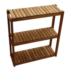 Teakworks4u - Plantation Teak Three Tiered Shelf - This versatile shelf unit can be used in a variety of settings around the home including the bath and garden.