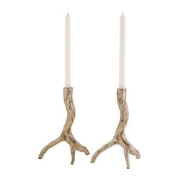 Adler Iron Candleholders - For the man in your life, these antler candlesticks may be the ticket to getting him to care about your decor. Give a nod to his outdoorsman sensibilities by choosing these for your table or mantel all year-round.