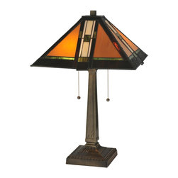 Meyda Tiffany - Meyda Tiffany Parquet Mission Table Lamp X-456911 - From the Parquet Collection, this Meyda Tiffany table lamp is an elegant blend of warm tones and traditional mission styling. The crisp angles and clean linear styling is highlighted by the combination of the Antique finish and the prairie school design stained glass diffuser.