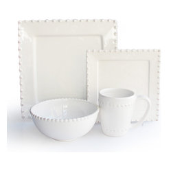 Bianca Bead Square 16 Piece Dinnerware Set