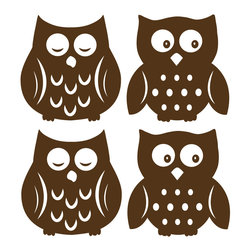 "WallPops - Owl Espresso Silhouettes Wall Decal - Sleepy owls and wide awake owls are super cute for your child's walls. Make a nursery extra special with these brown silhouette owldecals. Soothe bedtime fears and encourage imagination with these friendly owl wall decals. This WallPop Comes on four 13"" x 13"" Sheets and contains 4 Pieces Total. WallPops are repositionable and always removable."