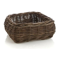 Hearth Cracker Basket - Woody bagobago vines weave rustic refinement for tabletop, kitchen island or hearth. Handwoven square basket present foods or decorative objects.