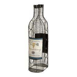 Imax - Moreau Wine Bottle Holder Wrought Iron Antique Metal Home Decor - Moreau wine bottle holder wrought iron antique metal home decor Imax 74061
