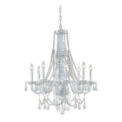 Crystorama - 8 Light All White Hand Cut Glass Arm Chandelier - The Envogue collection is traditional, timeless, elegant and romantic, with such details as opulent, all-white glass arm chandeliers and hand cut white crystal jewels. Crystorama's opulent ALL WHITE glass arm chandeliers are nothing short of spectacular.