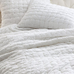Eileen Fisher Box-stitch Cotton Quilt and Sham