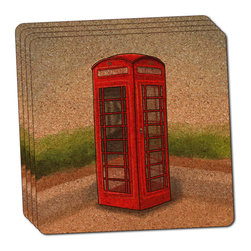 """Made on Terra - British Red Telephone Booth Thin Cork Coaster Set of 4 - You're just cleaning up after your epic party when you realize it... something's different. Unlike all those other times, you're not mopping up cup condensation from your counters and tables. This time, everyone used a coaster. Everyone. Maybe it's because you handed out a coaster with every glass. No. You've tried that before. No, this time it's because of the actual coasters. You found the cutest Made On Terra printed cork coasters. You love that everyone commented on how unique they were,  from the light-weight, thin cork material to the printing that creates a cool and subtle effect. Plus, they're really absorbent, but dry quickly. And they're made from an eco-friendly, sustainable resource, so that makes you feel pretty great, too. Choose from Made on Terra's many fabulous cork coasters. Measures 4"""" x 4"""" x 1/8"""". Made of thin cork. Super cute and nicely absorbent. Sold in sets of four."""
