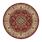 Tayse Rugs - Elegance Red, Blue and Black Round: 7 Ft. 10 In. Rug - - The detailed oriental medallion design of this area rug make a statement of elegance to any room. Soft polypropylene fibers make it soft, warm, and easy to clean. Rich hues of red, gold, ivory and black. Vacuum and spot clean.  - Square Footage: 61  - Pattern: Oriental  - Pile Height: 0.39-Inch Tayse Rugs - 5390  Red  8 Round