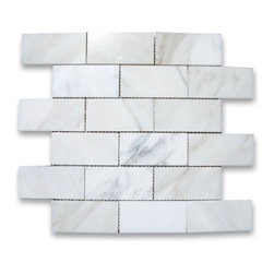"Stone Center Corp - Calacatta Gold Marble Subway Brick Mosaic Tile 2x4 Polished - Calacatta gold marble 2"" x 4"" brick pieces mounted on 12"" x 12"" sturdy mesh tile sheet"