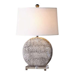 Uttermost Albinus White Lamp - Textured ceramic finished in an aged ivory glaze with rustic bronze undertones accented with a crystal foot. Textured ceramic finished in an aged ivory glaze with rustic bronze undertones accented with a crystal foot. The tapered oval hardback shade is a crisp white linen fabric. Due to the nature of fired glazes on ceramic lamps, finishes will vary slightly.
