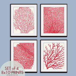 Underwater Sea Coral Collection Series C by Pixie Pixels - Cora prints grouped together make for the cheapest kitchen makeover ever.