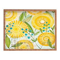 DENY Designs - Cori Dantini Sun Burst Flowers Rectangular Tray - With DENY'S multifunctional rectangular tray collection, you can use it for decoration in just about any room of the house or go the traditional route to serve cocktails. Either way, you'll be the ever so stylish hostess with the mostess!