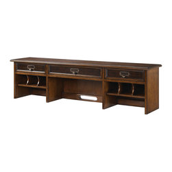 """Hammary - Mercantile Desk Hutch in Whiskey Finish - Hammary's Mercantile series is crafted of Poplar Solids and Cherry Veneers, Metal and Beveled Glass with a Whiskey finish. The collection is reminiscent of general stores and Early 20th Century styles, the look of this grouping is sure to add a nostalgic and casual feel to any home.; Mercantile Collection; Finish: Whiskey; 3 Drawers; 3 Open Storage Areas; 6 Small Cubby Areas; Wire Management Opening; Weight: 53 lbs.; Some assembly required; Dimensions: 54""""W x 10. 5""""D x 14""""H"""