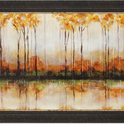 Paragon Decor - Treeline Artwork - Fall foliage print is textured and framed in an espresso finish molding.