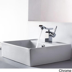 Kraus - Kraus Bathroom Combo Set White Square Ceramic Sink/Unicus Bas-inch Faucet - This Kraus above-counter ceramic sink boasts a smooth white design that will enhance your bathroom decor. The included single-hole, top-mount Unicus bathroom faucet is available in your choice of chrome, brushed nickel or oil rubbed bronze finishes.