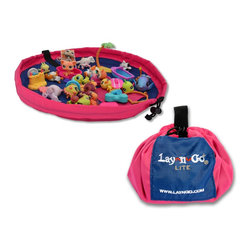 "Lay-n-Go - Lay-n-Go LITE, 18"", Pink - Lay-n-Go® LITE (patent pending) is an 18 inch travel/mini activity mat that converts into an easily transportable satchel allowing for a quick and effortless clean-up of small toy pieces in seconds.  Toy collections used on the Lay-n-Go surface are easily spread out for hours of fun at restaurants, on airplanes, in cars, at Grandma's house, etc.  Once playtime is over, the drawstring is pulled and the activity mat is instanly converted back into a soft storage bag.  Lay-n-Go LITE is small, but like its big brother/sister, it is a smart and easy personal activity mat, cleanup, storage and handy little carryall solution in one."