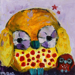 Two Of Us (Original) by Melissa Bee - Delightful original pallet knife oil painting of two owls.  Rich colors, shapes and impasto (thick) texture.  This painting would look wonderful in any room.  Unframed, however the sides of the painting are painted to match the rest of the painting so framing is not necessary. Wire to hang with in the back.  Stretched canvas on wood.  By yours truly, Melissa Bee