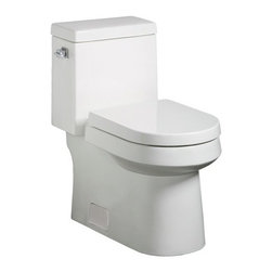 """Danze - Danze DC031221WH White Ziga Zaga 1.6GPF One-Piece Toilet with 3"""" Flush - One-Piece Toilet with 3"""" Flush Valve from the Ziga Zaga Collection Design is like language. You can use it to communicate so much about yourself. So why settle for décor that mumbles when you can share your take on the world in crisp, decisive prose? That's precisely why Danze created the new Ziga Zaga Collection. The clean lines and boldly assertive geometric shapes speak with a refined sense of style and sophistication. Each element punctuates the look while working seamlessly together to create a bathroom environment where everything is as it should be. Exactly. Danze DC031221 Product Descriptions:  3"""" flush valve technology with Fluidmaster pilot valve Elongated bowl with 12"""" rough-in Concealed, glazed trapway 16 1/2"""" rim height Fully glazed concealed trapway Water consumption rating: 1.6 GPF(6 Lpf) Accessories included: self-close seat, side mounted tank lever in Chrome finish and matching color ceramic floor bolt cover plates  Danze DC031221 Product Specifications:  Height: 29-5/8 Width: 14-1/2 Depth: 28-3/4 Weight: 93 Configuration: one-piece, elongated Water Per Flash: 1.6 gpf Trapway: 2-1/8 Water depth from rim: 5-1/8 Water area: 11-3/4 x 8-5/8 Seat post hole centers: 5-1/2 Operating static pressure range: 20 to 80 psi"""