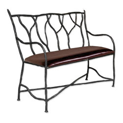 Mathews & Company - South Fork Bench - Are you looking for a little extra seating that will wow your guests? This bench from the South Fork collection combines functionality with a dramatic rustic statement. Its twisting frame gives the look of a wrought iron forest in winter, offering guests a sense of the outdoors as they enjoy the comfort of their seat. Four unique color finishes allow you to personalize the piece. Choose among our luxury upholsteries, featuring leather or pine, for an even greater statement.