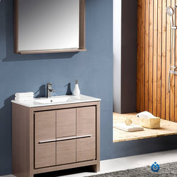 """Fresca - Fresca Allier 36"""" Modern Bathroom Vanity - Grey Oak - At a width of 36"""" and depth of 18.5"""" and a height of 33.5"""", the Fresca Allier bathroom vanity is one of the most compact free standing vanities available on the site. Accented with a 35.5"""" wide x 25.5"""" high mirror that includes a 6"""" deep shelf, this bathroom vanity can add both convenience and style to any modernly designed restroom. The optional side cabinet, sold separately, can further enhance your storage options.The Fresca Allier bathroom vanity comes complete with a matching ceramic countertop sink, p-trap and pop-up drain, along with the main cabinet, mirror, and standard hardware needed for installation. This bathroom vanity also comes with your choice of faucet for optimal personalization.DecorPlanet is proud to offer Fresca Bathroom products. Fresca is a leading manufacturer of high-quality vanities, accessories, toilets, faucets, and everything else to give you the freshest bathroom in the neighborhood. Fresca is known for carrying the latest and most popular styles in modern and contemporary bathroom design that are made with high quality materials and superior workmanship."""