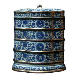 Golden Lotus - Porcelain Flower Shape Blue & White Stack Candy Box - This is a stylish elegant decorative accent for the modern home. It can become a few dishes for candy or accessories display. When all stack together, it is a home decoration charm.
