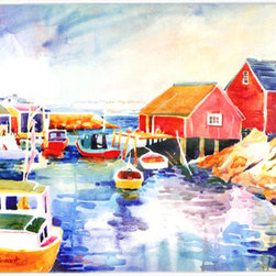 Caroline's Treasures - Boats At Harbour With A View Glass Cutting Board Large Size - Large Cutting Board .. . Made of tempered glass, these unique cutting boards are some of your favorite artists prints. 15 inches high and 12 inches long, they will beautify and protect your counter top. Heat resistant, non skid feet, and virtually unbreakable!