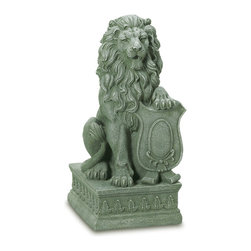 KOOLEKOO - Lion Guardian Garden Statue - With his mighty paw placed atop a crested shield, a regal lion surveys all who approach the door to your castle. Inspired by the centuries-old stone carvings found in castles and cathedrals throughout Europe, this impressive statue makes a bold historical statement and lends distinction to your entryway or garden!
