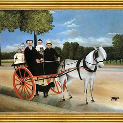 """Henri Rousseau-18""""x24"""" Framed Canvas - 18"""" x 24"""" Henri Rousseau Old Junior's Cart framed premium canvas print reproduced to meet museum quality standards. Our museum quality canvas prints are produced using high-precision print technology for a more accurate reproduction printed on high quality canvas with fade-resistant, archival inks. Our progressive business model allows us to offer works of art to you at the best wholesale pricing, significantly less than art gallery prices, affordable to all. This artwork is hand stretched onto wooden stretcher bars, then mounted into our 3"""" wide gold finish frame with black panel by one of our expert framers. Our framed canvas print comes with hardware, ready to hang on your wall.  We present a comprehensive collection of exceptional canvas art reproductions by Henri Rousseau."""