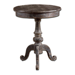 Uttermost - Cadey Reclaimed Wood Side Table - Put it on a pedestal. This rustically refined side table is made of reclaimed wood for one-of-a-kind character. Distressed and weathered for authenticity, it has a generously sized top to hold a stack of your favorite bestsellers with room left over for a lamp.